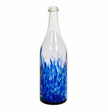 Бутылка стеклокрошка синяя 1 л с пробкой